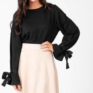 Black Bow Sleeve Sweatshirt